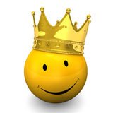 Smiley Golden Crown. Yellow smiley with golden crown, on the white background Royalty Free Stock Photos