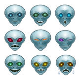 Smiley grey aliens. Grey aliens their desires and emotions faces show what they want: smile, laughter, anger, crying, suspicion, hatred, doubt stock illustration