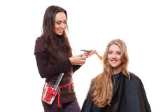 Smiley hairdresser with client Stock Photography