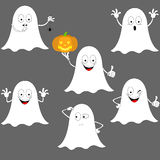 Smiley halloween ghosts icons set. stock illustration