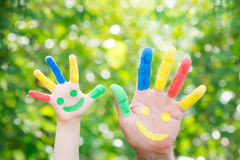 Smiley on hands Royalty Free Stock Photography