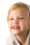 Smiley happy little girl close-up. On white background Stock Photography