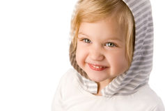 Smiley happy little girl close-up. On white background Stock Image