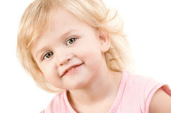 Smiley happy little girl close-up. On white background Stock Images