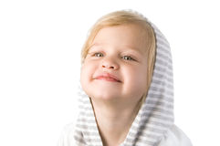 Smiley happy little girl close-up. On white background Stock Photo