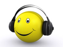 Smiley with headphones. Happy smiley face wearing headphones and listening to music (3d render stock illustration