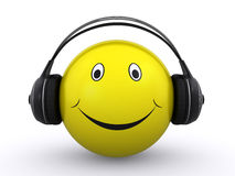 Smiley with headphones. Happy smiley face with headphones on a white background (3d render vector illustration