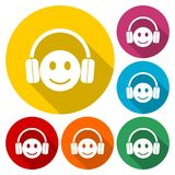 Smiley with headphones icon set. Vector icon vector illustration