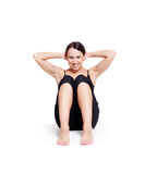 Smiley healthy woman doing exercises Royalty Free Stock Photos