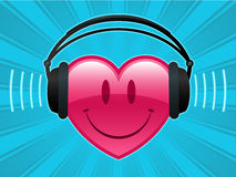 Smiley heart with headphones. Listening music royalty free illustration