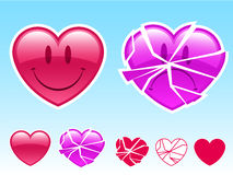 Smiley heart and sad heart. Happy smiley heart and sad broken heart royalty free illustration
