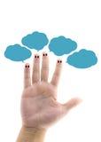 smiley heureux de doigt avec des bulles de la parole Images libres de droits
