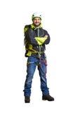 Smiley hiker in helmet Royalty Free Stock Images