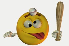 Smiley hit with baseball  Royalty Free Stock Images