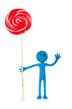 Smiley holding colourful lollipop isolated Royalty Free Stock Photography