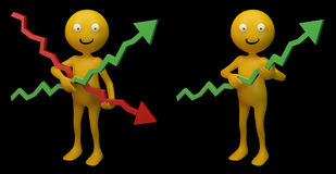Smiley holding graphs. Smiley characters holding 3d graphs Stock Images
