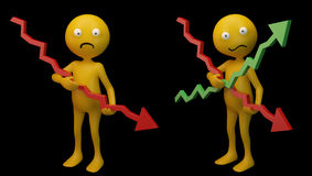 Smiley holding graphs. Smiley characters holding 3d graphs Royalty Free Stock Images