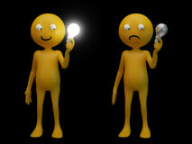 Smiley holding a light bulb. 3D character smiley holding a light bulb Royalty Free Stock Photo
