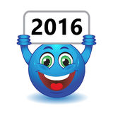 Smiley holding a sign 2016. Stock Photo - Blue Balloon smiling holding a sign with the inscription 2016 Royalty Free Stock Images