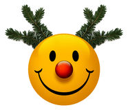 Smiley Holiday Icon. A smiley holiday icon with a red nose Stock Photos