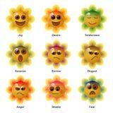 Smiley i blomman som uttrycker de grundläggande mänskliga psykologiska sinnesrörelserna också vektor för coreldrawillustration royaltyfri illustrationer