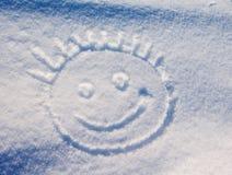 Smiley i snön Fotografering för Bildbyråer