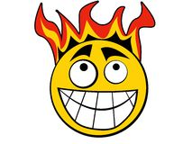 Smiley Icon Fire. Yellow smiley with flames on the head Royalty Free Stock Image