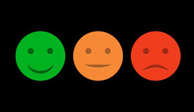 Smiley icon set. Emoticons positive, neutral and negative. Vector isolated red and green mood. Rating smile for customer opinion Stock Image