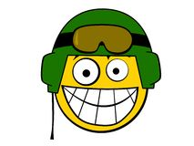 Smiley Icon Soldier with Helmet Royalty Free Stock Images