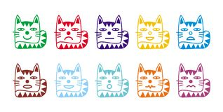 10 smiley icons in the form of funny cats. Stock Image