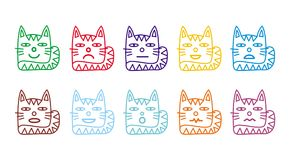 10 smiley icons in the form of funny cats. Stock Photography