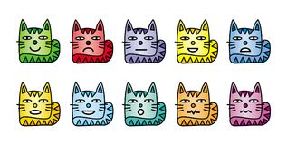 10 smiley icons in the form of funny cats. Royalty Free Stock Photography