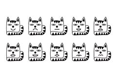 10 smiley icons in the form of funny cats. Varied emotions for web. Stock Photos