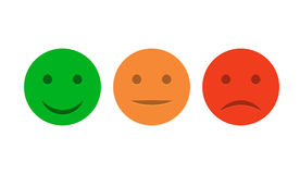 Smiley ikony set Emoticons pozytyw, neutralny i negatyw, Wektorowy odosobniony czerwieni i zieleni nastrój Ratingowy uśmiech dla  Obrazy Stock