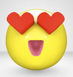Smiley. Illustration of a smiley with eye made of hearts Stock Photography