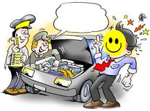 Smiley Inspection of an Car. Smiley Inspection man of an Car Stock Images
