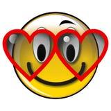 Smiley jaune lustré heureux dans le bouton d'amour illustration de vecteur