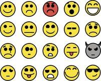 20 smiley jaunes drôles Photographie stock