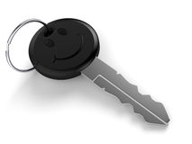Smiley Key. Car key with smiley face on white background. Computer generated image with clipping path Stock Photo
