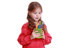 Smiley kid with colorful pencils on Art theme Stock Image