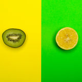 Smiley from the kiwi and lemon on a colored background. Royalty Free Stock Image