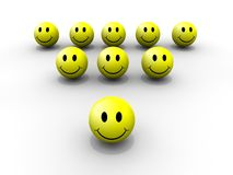 Smiley leader. An illustration of eight smileys and one leader smiley Royalty Free Stock Photos