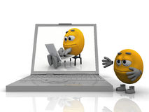 Smiley learn informating. The yellow smiley learns informating Royalty Free Stock Image