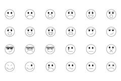 Smiley Line Icons 1 Stock Foto's