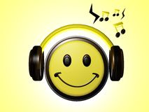 Smiley Listening music. With glowing background royalty free illustration