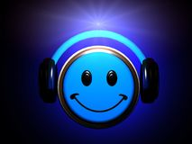 Smiley listening music. 3d render of a Smiley listening music stock illustration