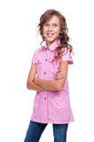 Smiley little girl with folded hands Royalty Free Stock Photos