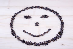 Smiley made entirely out of coffee grains Royalty Free Stock Photos