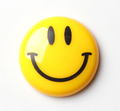 Smiley Magnetic Pin on White background Stock Photo