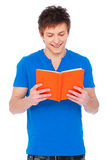 Smiley man with book. Portrait of smiley man with book over white background Stock Photos